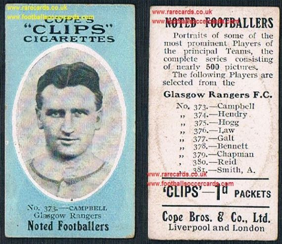 1910 Glasgow Rangers Campbell 373 Cope Clips cigarettes noted footballers